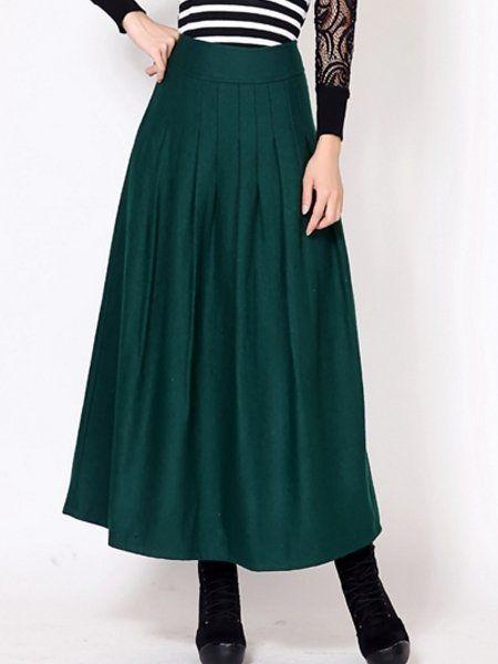 Pleated Plain Fancy Maxi Skirts #ClothingOnline #PlusSizeWomensClothing #CheapClothing #FashionClothing #womenswear #sexydress #womensdress #womenfashioncasual #womensfashionforwork #fashion #womensfashionwinter