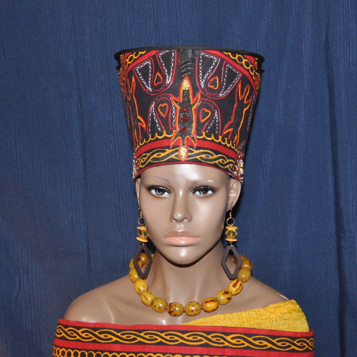 Reserved For Ann Nefertiti Hat Queen Of Cameroon Hat Etsy African Hats Black And Red Nefertiti