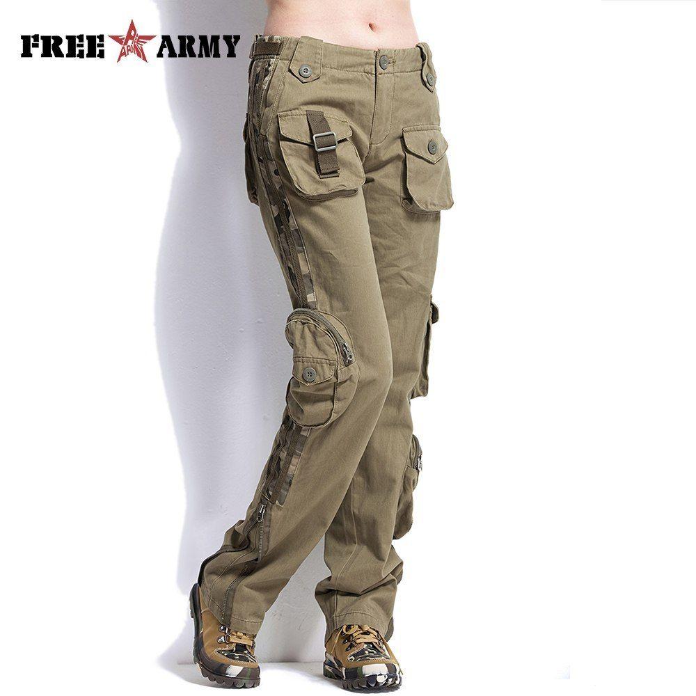 Barato Freearmy Mujer Plus Tamano Pantalones Casual Caqui Mediados De Cintura Pantalones De Carga Milit Pantalones Pantalones Militares Pantalones Tipo Militar