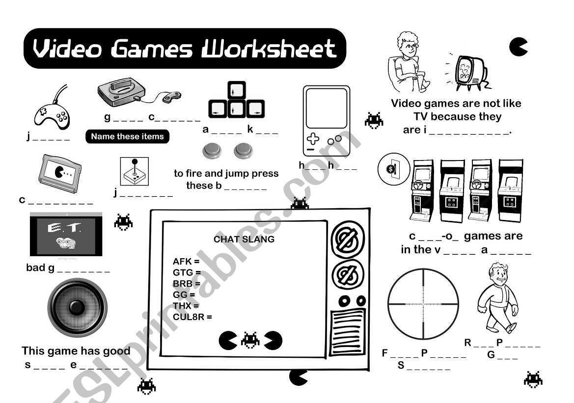 Video Games Vocabulary Worksheet