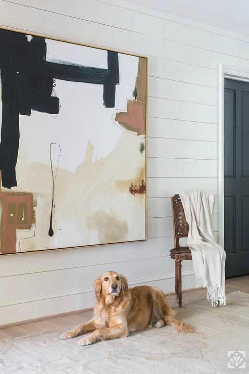 Beige and Black Abstract Art on Shiplap Wall - Transitional - Home Exterior