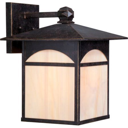 Canyon 1 LT 11 inch Outdoor Wall Fixture w/ Honey Stained Glass, Bronze
