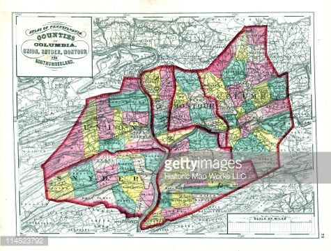 Stock Illustration : Pennsylvania, 1872, Columbia, Union, Snyder, Montour, Northumberland Counties, Pennsylvania State Atlas