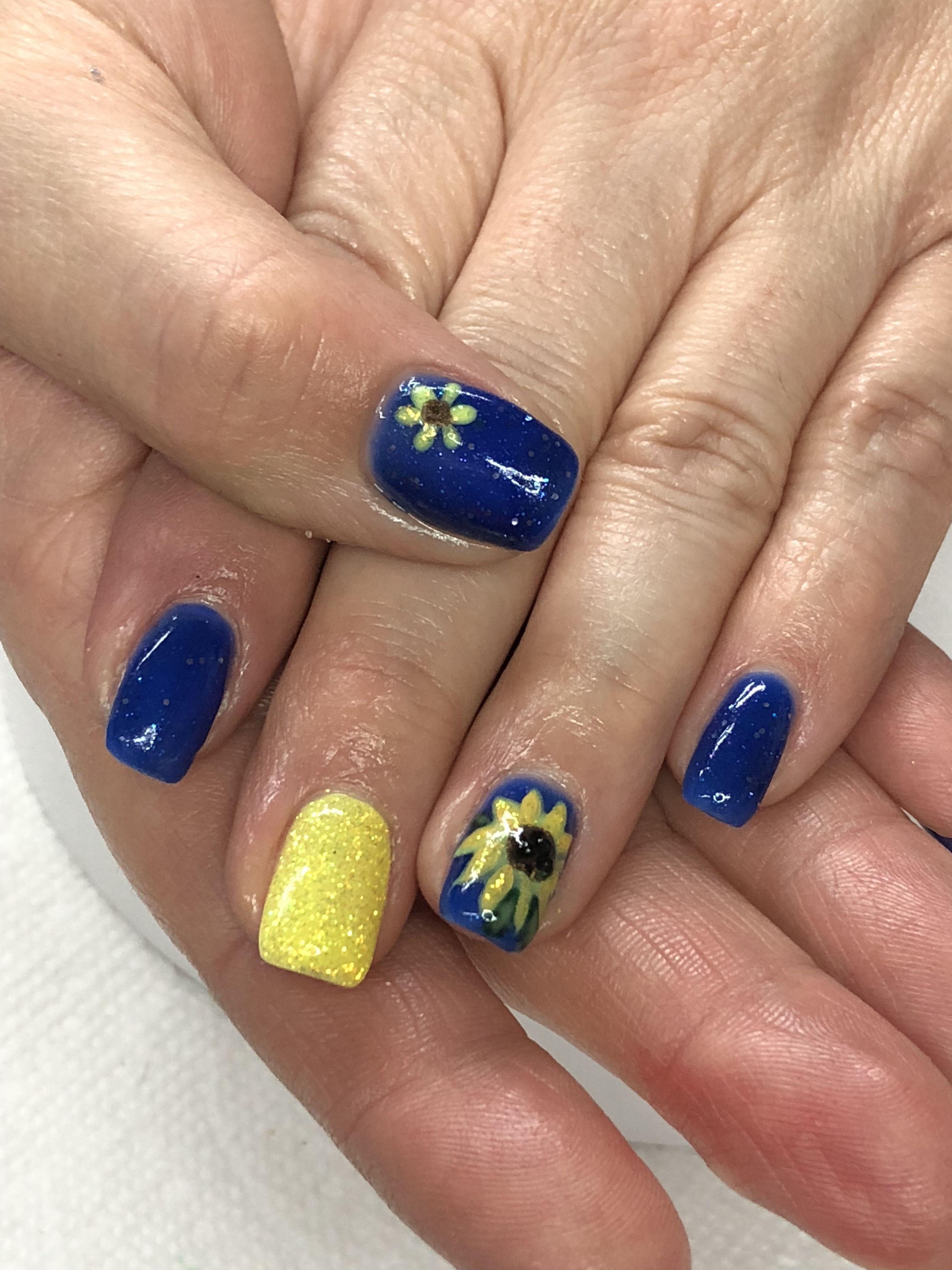 Sunflower Royal Blue Yellow Glitter Gel Nails Light Elegance Yellowjacket Lemon Burst Royal Blue Nails Glitter Gel Nails Sunflower Nails