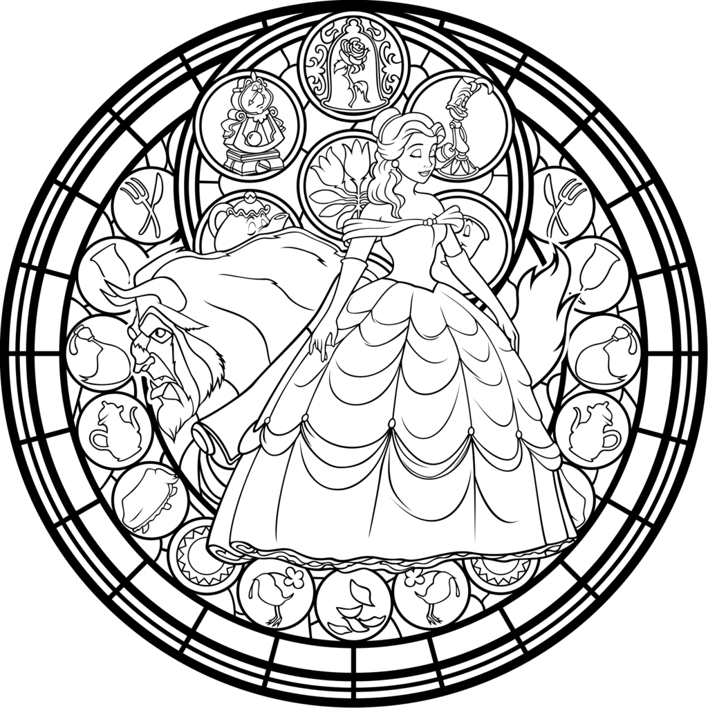 Belle Stained Glass Vector Coloring Page By Akili Amethystdeviantart