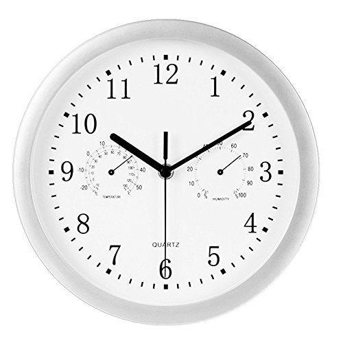 Foxtop 10 Inch Indoor Outdoor Wall Clock Weather Monitoring Clock Universal Quartz Non Ticking Silent Glass Cover Silver Outdoor Wall Clocks Large Digital Wall Clock Wall Clock