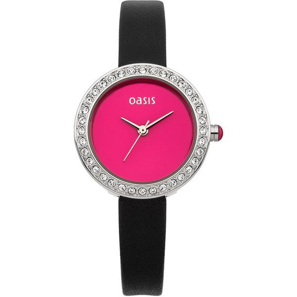 OASIS Black Leather Strap Watch (£40) ❤ liked on Polyvore featuring jewelry, watches, black, stone jewelry, black watches, bezel jewelry, black stone jewelry and bezel watches