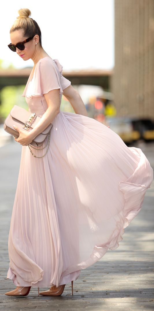 Asos Pale Pink Ruffle Sleeve Vintage Pleated Maxi Dress by Brooklyn Blonde