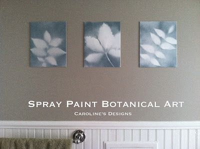 Spray paint, leaves and canvas = wall art, indoors and out