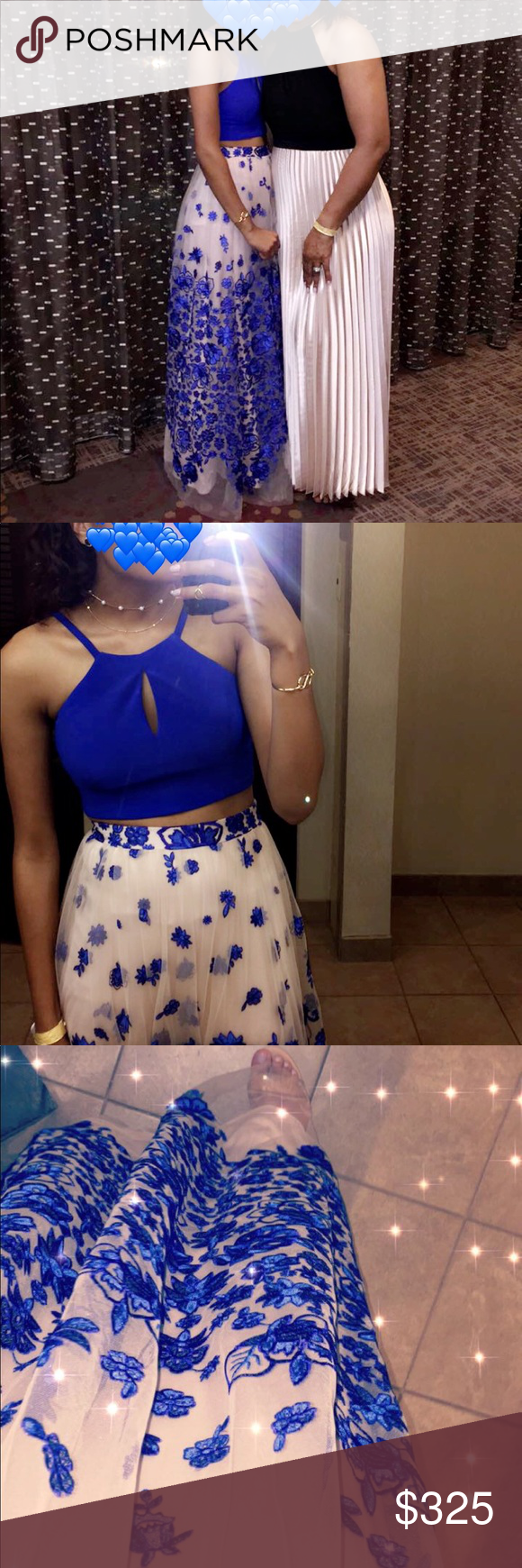 Royal blue floral piece prom dress dillards royal blue and prom