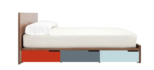 kids bed side view. Modu-licious Storage Bed At Blu Dot, Choose From Three Wood Stains And Six Colors For The Powder-coated Steel Drawers, $2,249. Kids Side View W
