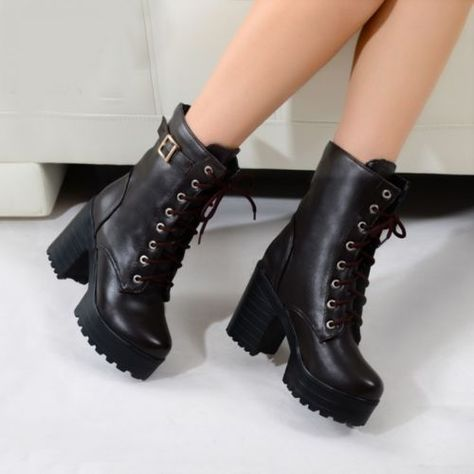 aa4db783bd84 Goth Womens Punk platform Ankle Boots Chunky High Heel Lace Up Buckle Punk  Shoes in Clothing
