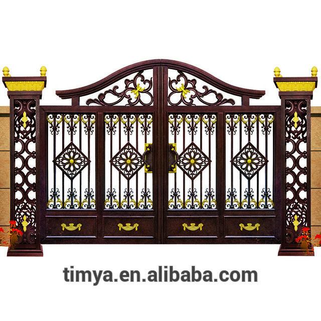 Decorativo Jardín de fundición de aluminio diseños puerta principal
