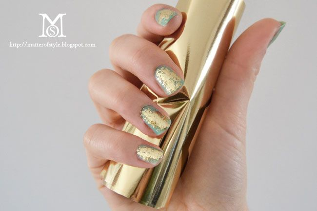 Gold foil manicure tutorial from A Matter of Style