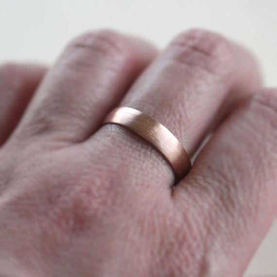 Rose Gold Men S Wedding Band 4 5mm Low Dome 14k By Theslyfox