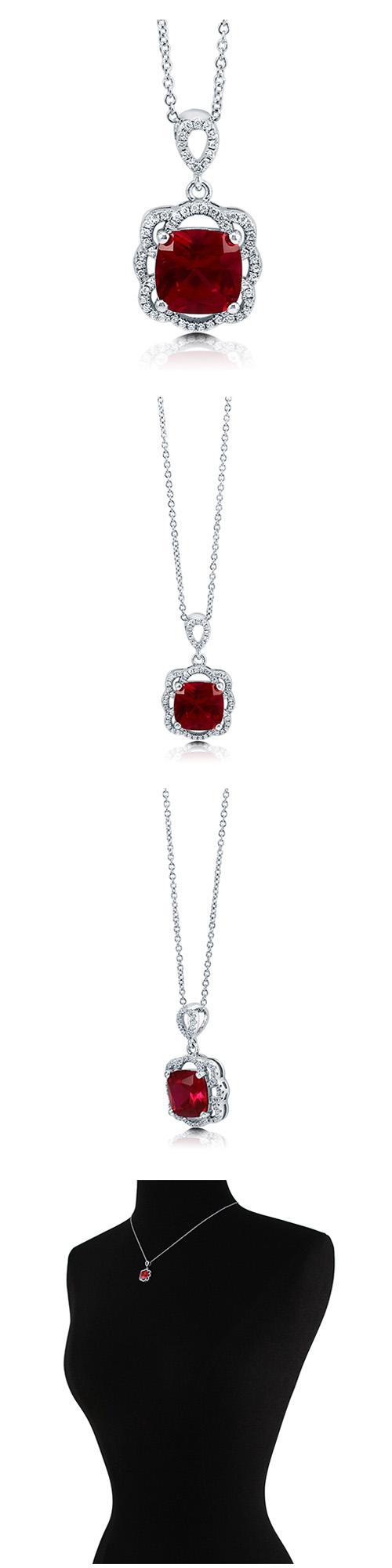 Sterling Silver Cushion CZ Flower Fashion Necklace