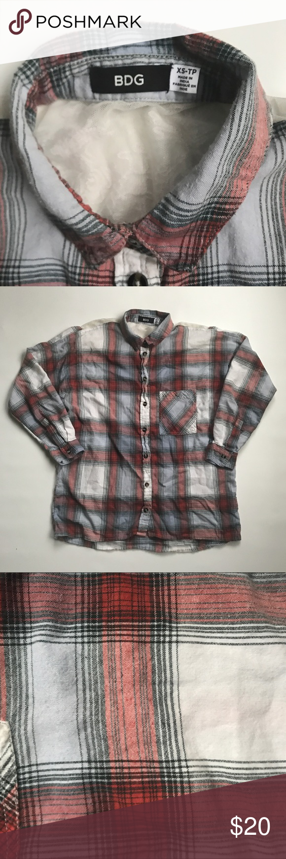 Flannel shirt xs  BDG Urban Outfitters Flannel Lace Plaid Shirt XS