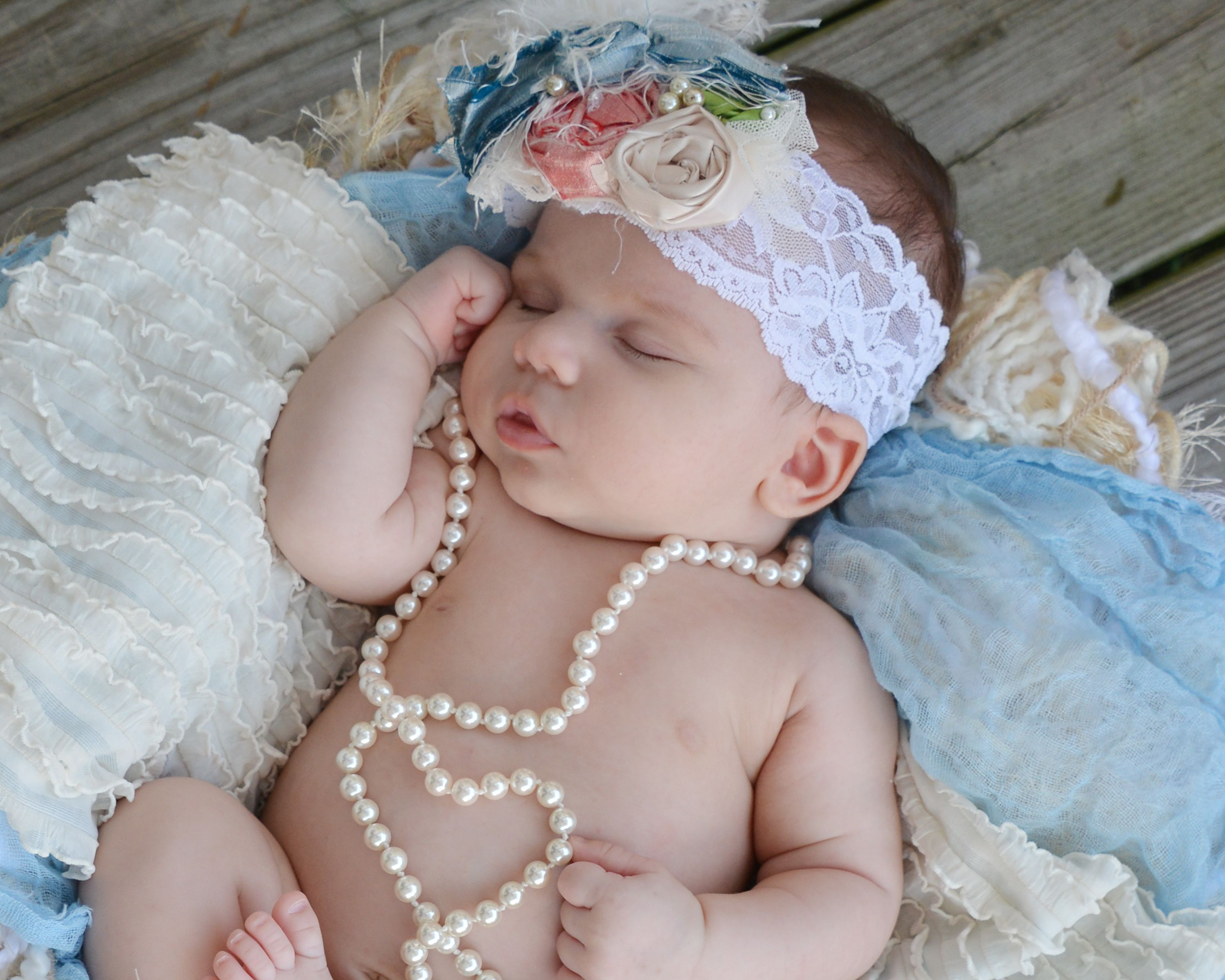 1 month old vintage headband photo shoot cute baby girl