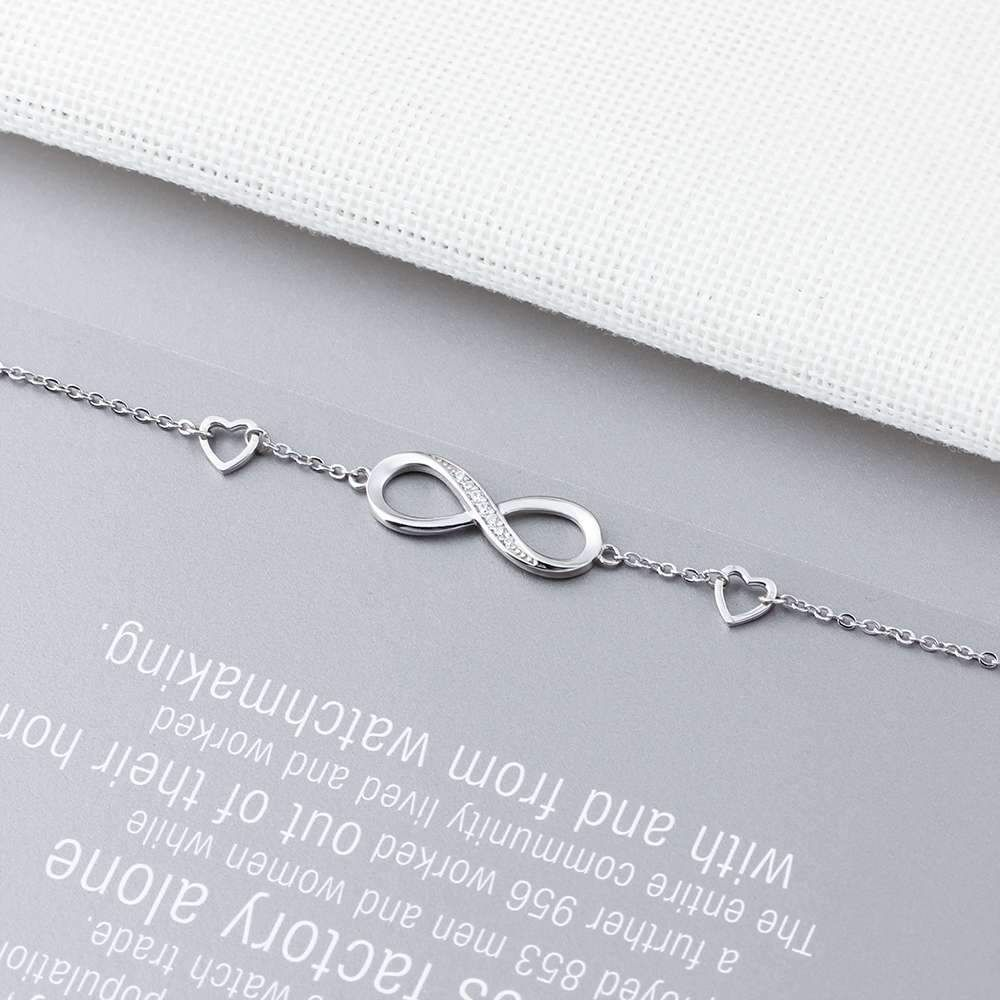 925 Sterling Silver Infinity Bracelets Adjustable Friendship Bracelets & Bangles Wedding Gift Ideas Bracelets Type: Chain & Link Bracelets Metals Type: Silver Metal Stamp: 925 Sterling Gender: Women Main Stone: Zircon is_customized: No Occasion: Anniversary Fine or Fashion: Fine Style: TRENDY Certificate Type: CNAS Side Stone: None Item Type: Bracelets Shape\pattern: GEOMETRIC Length:: 18.5cm Style:: Classic,Romantic,Trendy Occasion:: Anniversary, Engagement,Party,Wedding Gift Gift: Anni