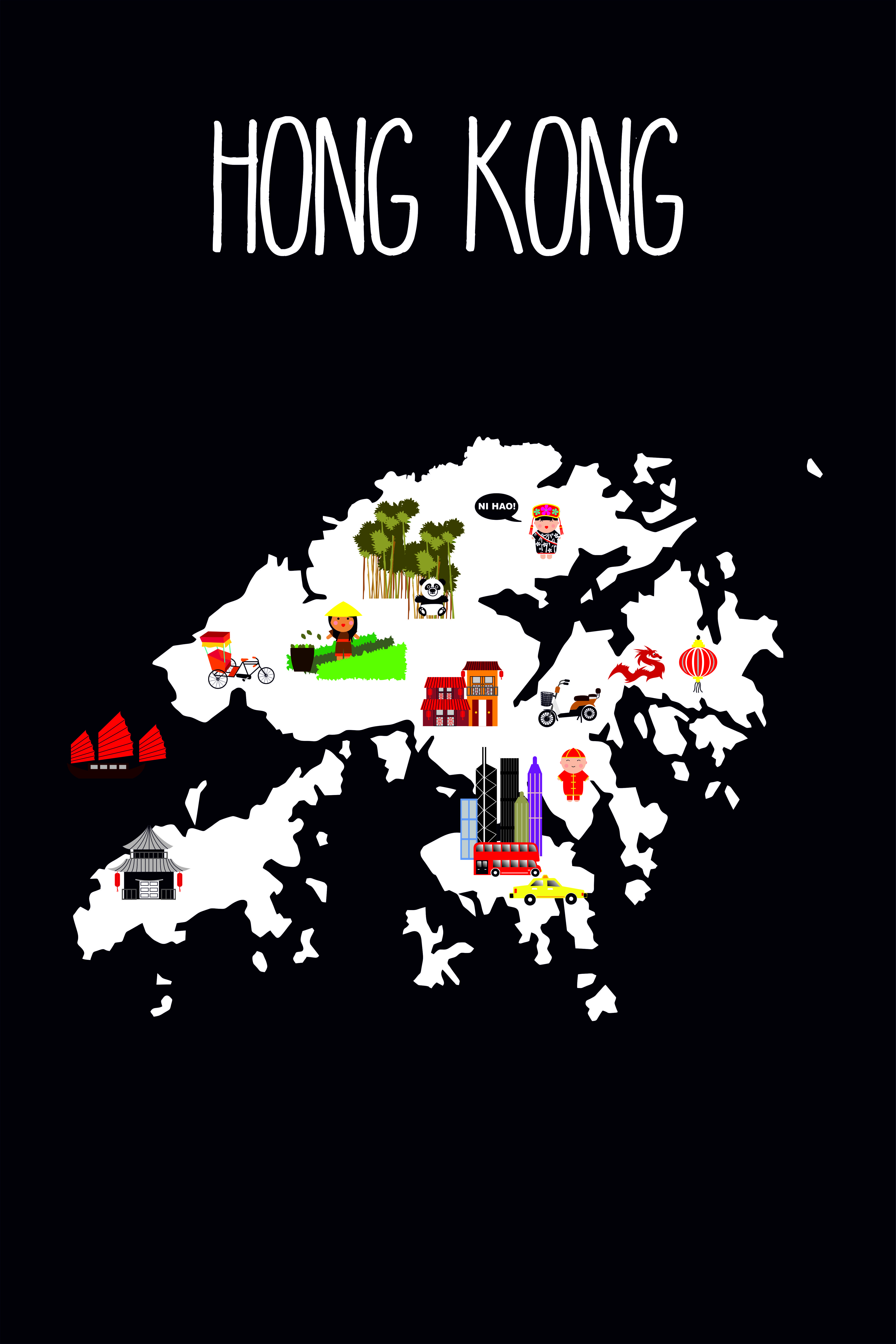 Hong kong poster hongkong map maps china world worldmap hong kong poster hongkong map maps china world worldmap gumiabroncs Choice Image