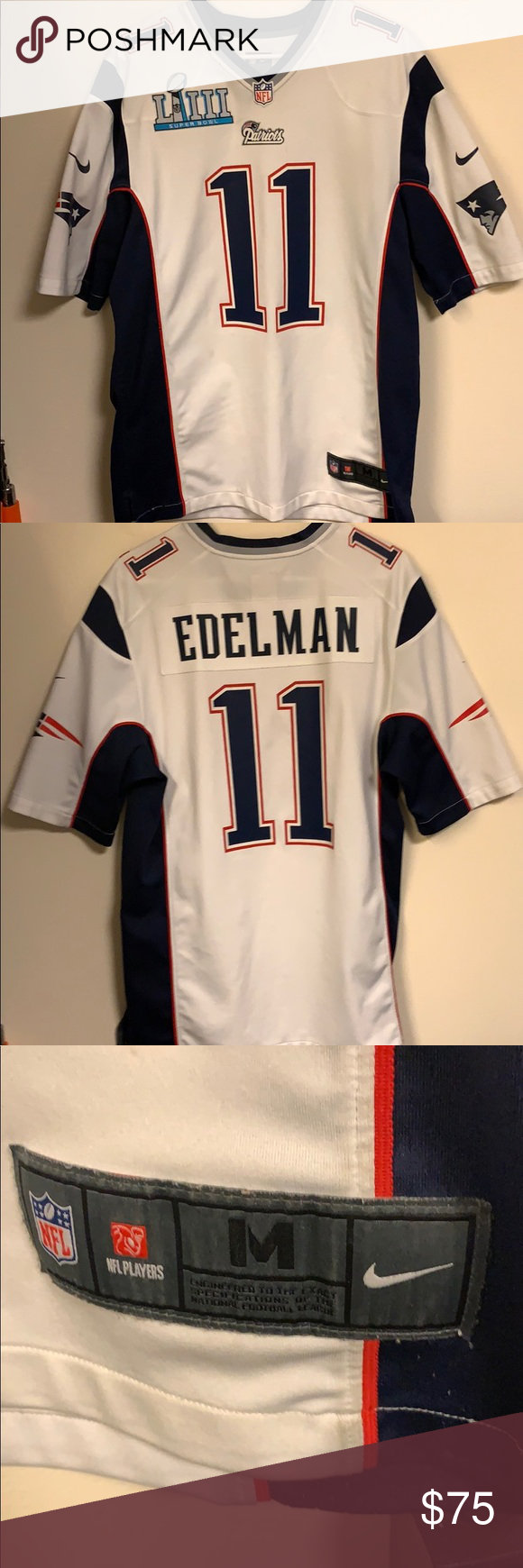 White Julian Edelman Patriots Jersey Used Edelman Jersey With Custom Iron On Super Bowl Badge Some Slight Te Edelman Jersey Patriots Edelman Patriots