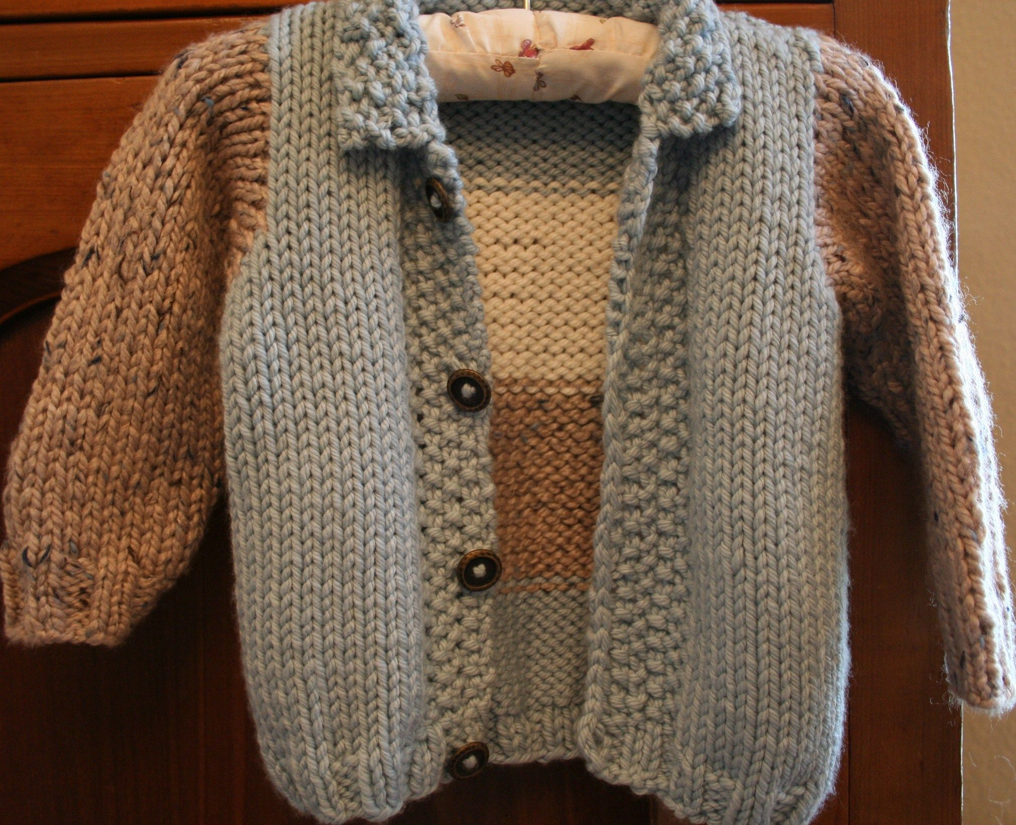 Baby and toddler boys color blocked cardigan- knitting pattern ...