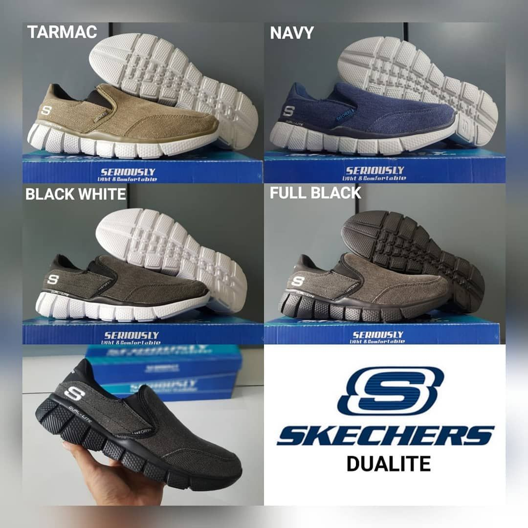 Sepatu Skechers Dualite 2 Made In Vietnam Ready Size Full Black 40