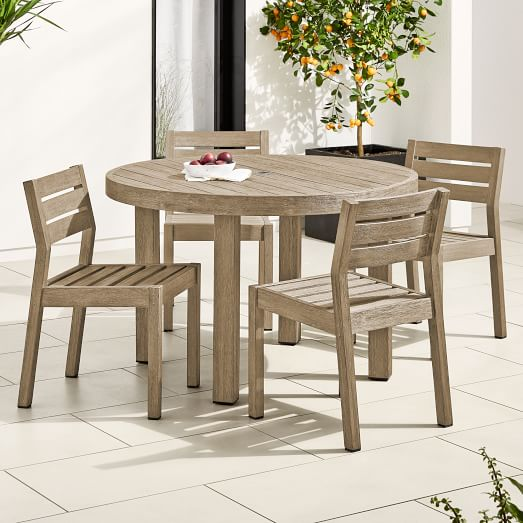 Portside Outdoor 60 Round Dining Table 6 Solid Wood Chairs Set