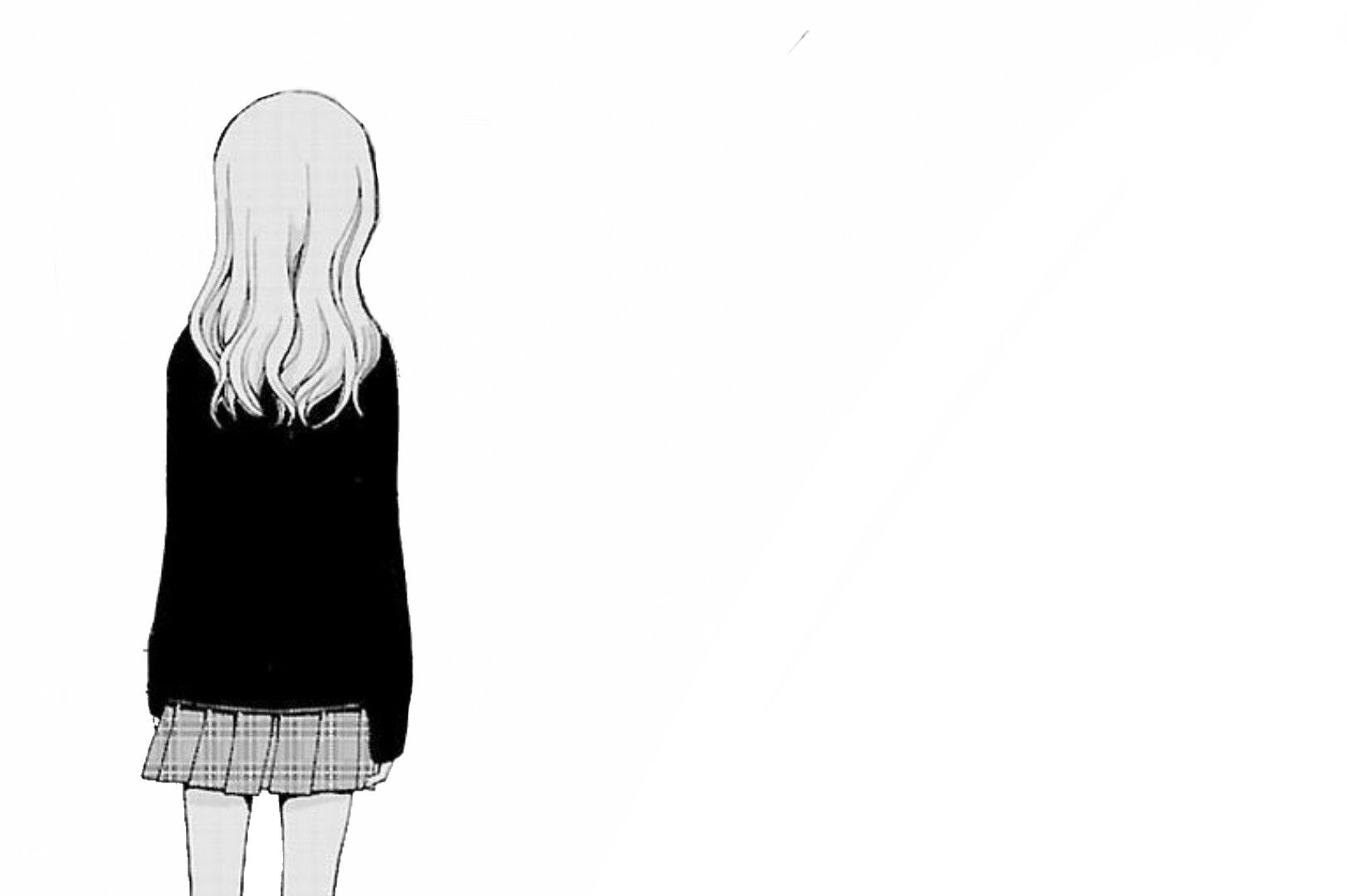 Hakoniwa telepathy manga shoujo girl sad cute nice hairstyle white hair tumblr shocking cry crying style