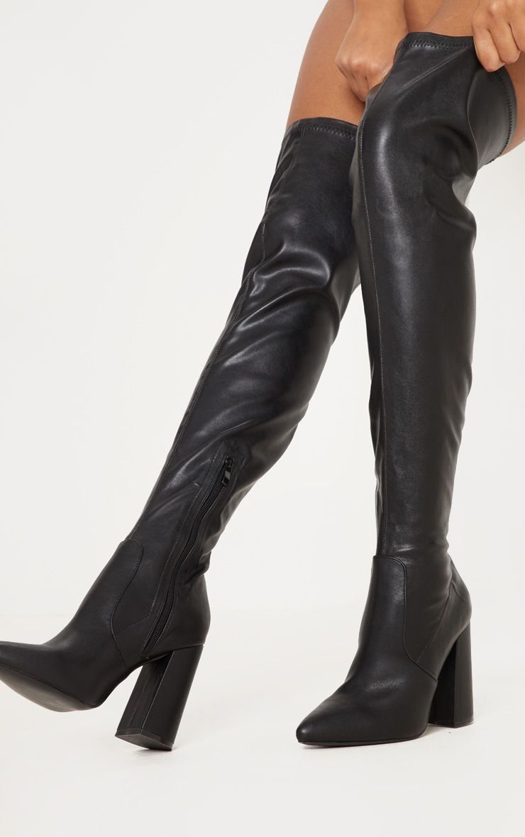 Women/'s Thigh high Overknee boots Block heel Leather boots Black Brown us Size