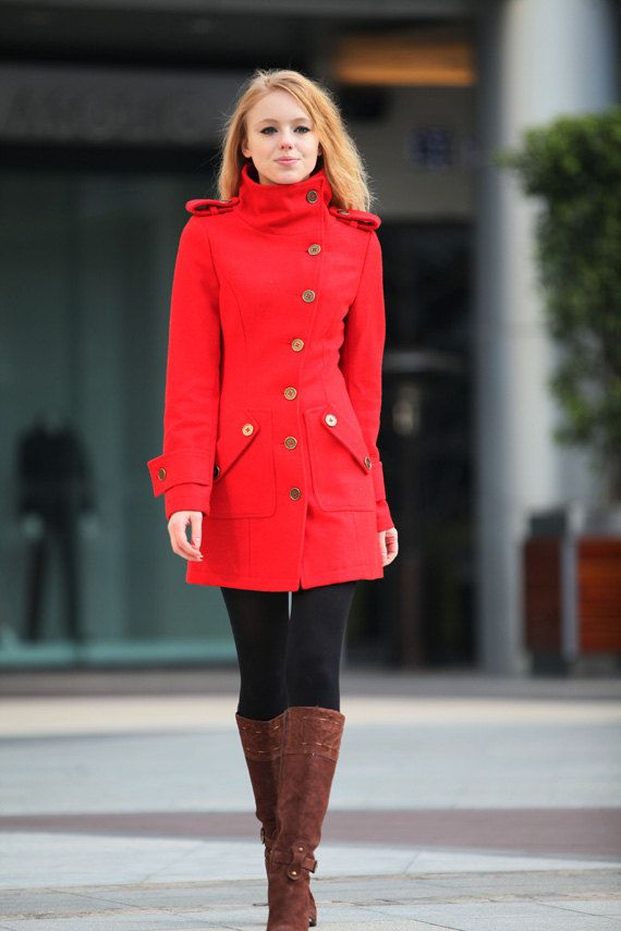 Size M Red Coat Fitted Military Style Wool Winter Coat Women Coat ...