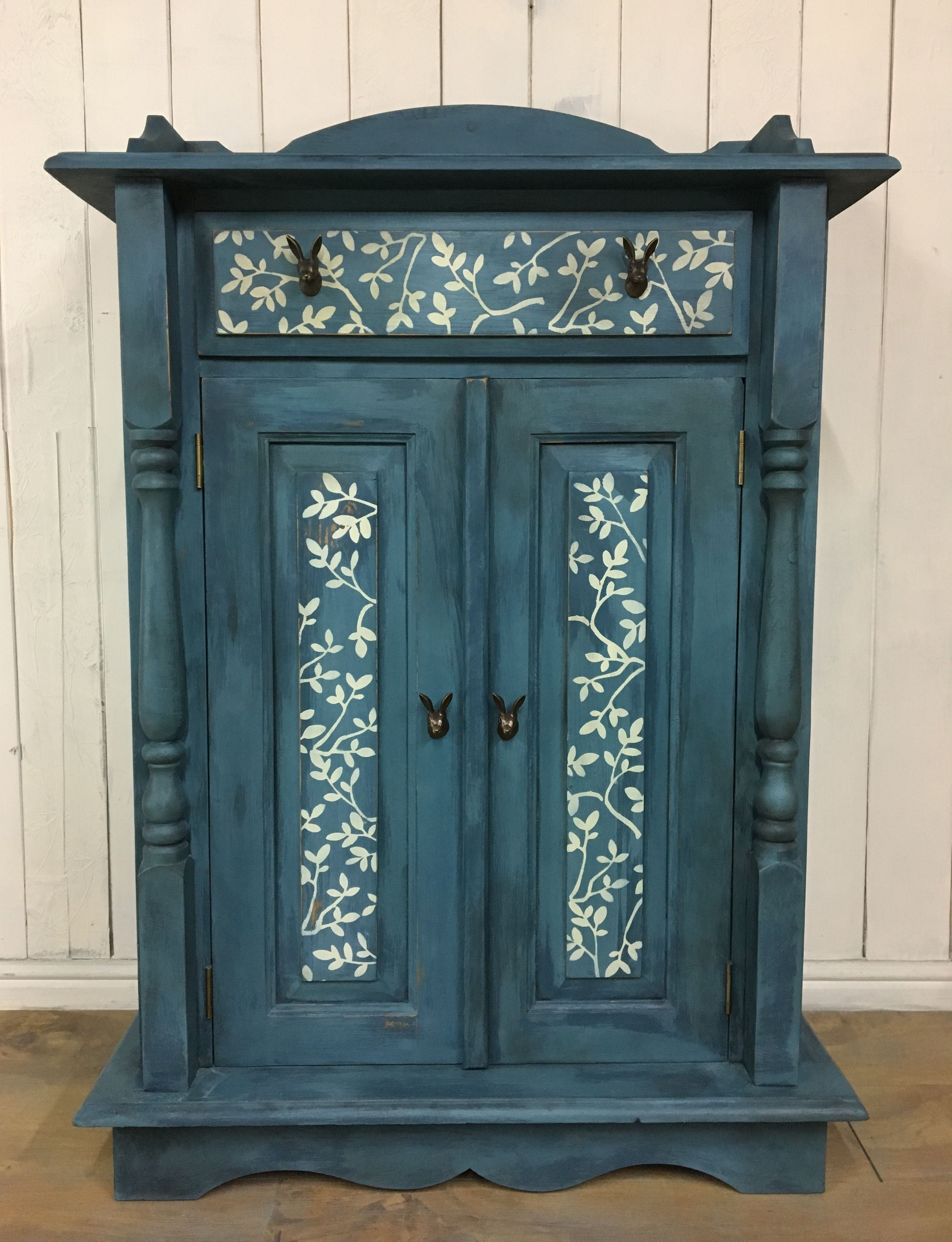 Hand painted cupboard, pine cupboard, cupboard with drawer ...