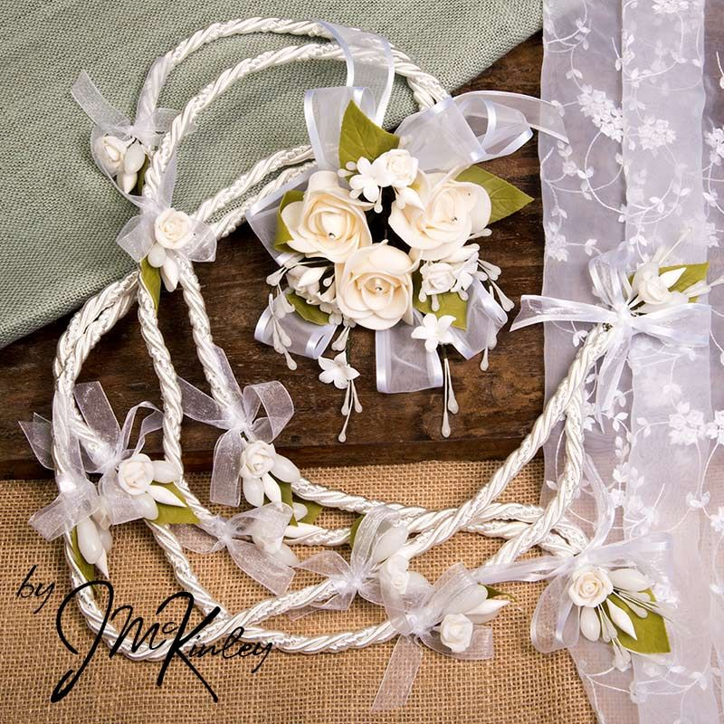 THIS ONE Stunning White Lazo With Large Centerpiece Flowers Wedding Lasso De Boda