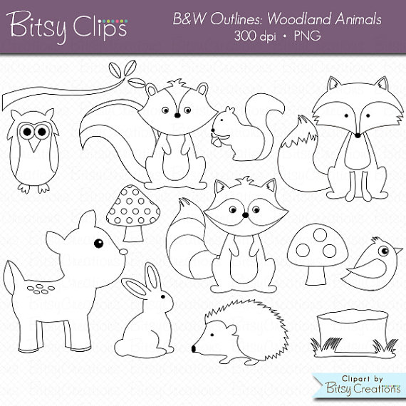 25 OFF Woodland Animals OUTLINE Digital Art Set Clipart Commercial Use Clip Animal Forest Stamps