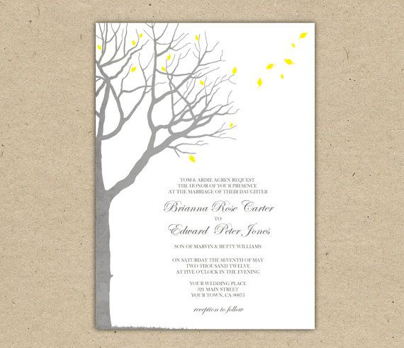 Wedding Invitation template Oak Tree Yellow and Grey Wedding - free engagement invitation templates