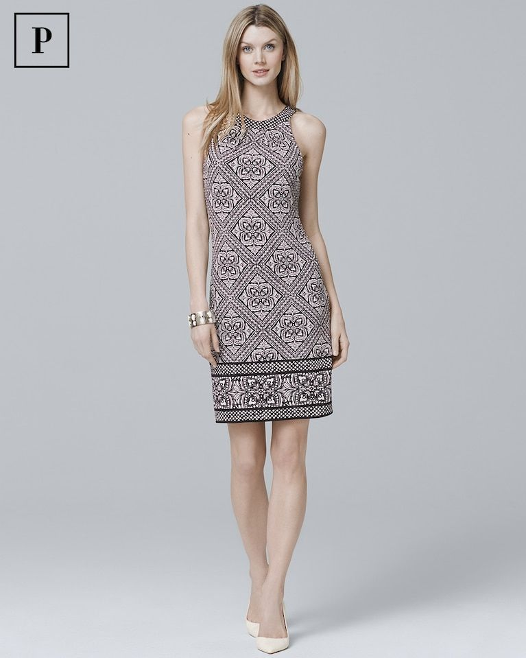 6aa076eb68 Women s Petite Reversible Sleeveless Printed Knit Shift Dress by White  House Black Market