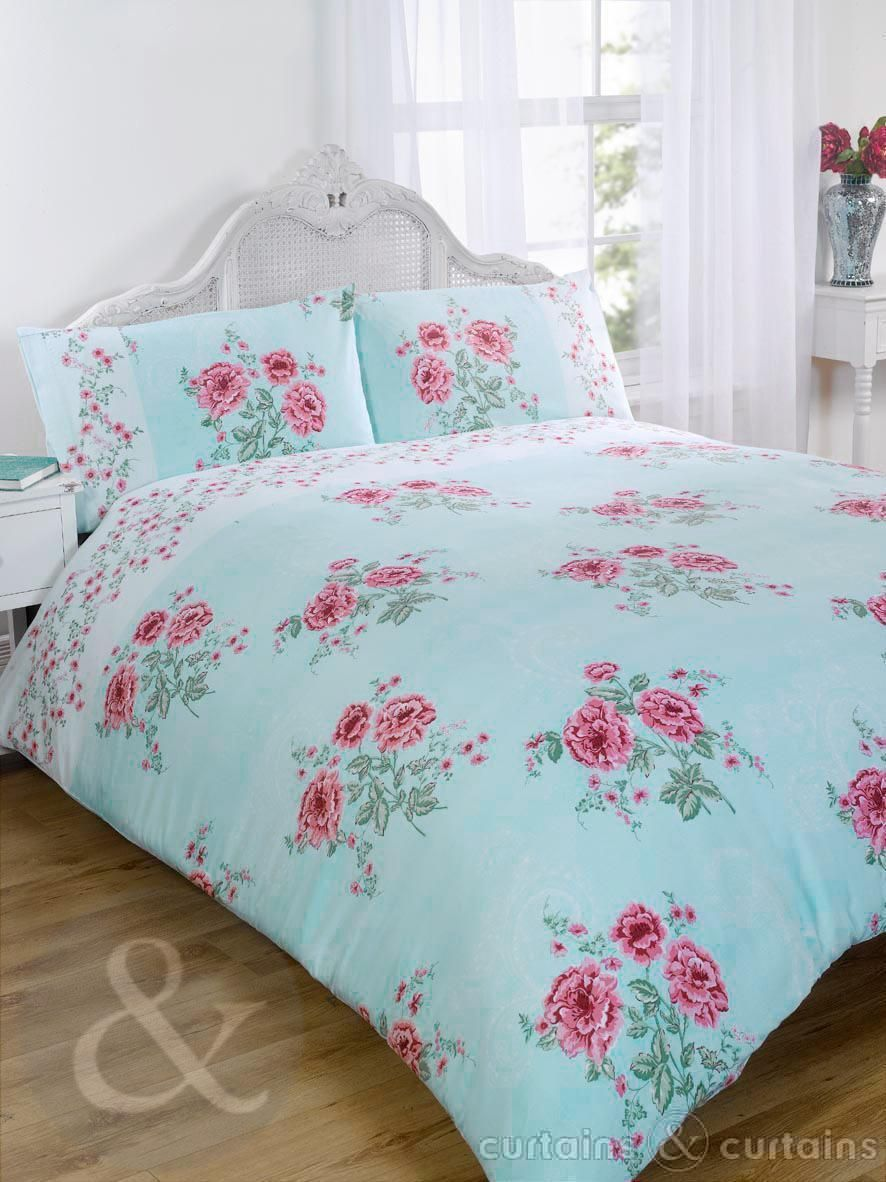 Floral Chic Vintage Blue Luxury Duvet Cover Bedding UK