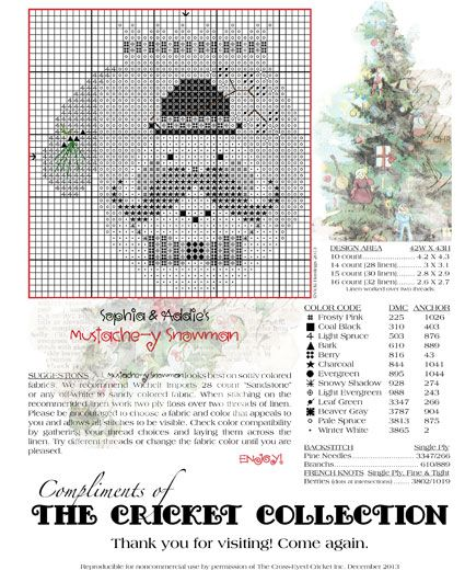 The Cricket Collection Our Gift To You Xmas Cross Stitch Cross Stitch Freebies Cross Stitch Christmas Ornaments