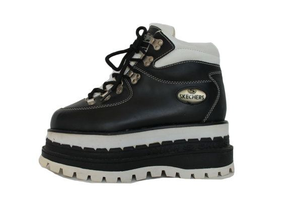 90s mega platform skechers boots black and white leather