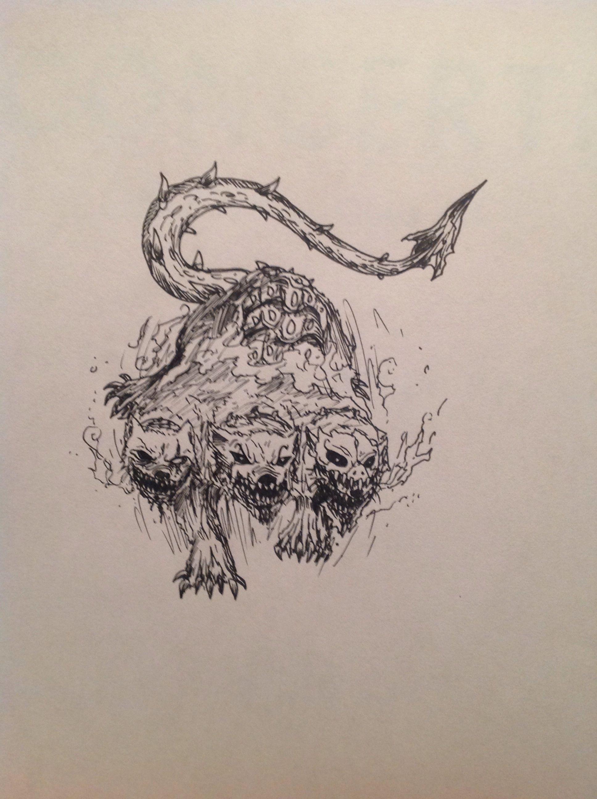 Cerberus The Three Headed Hellhound Hellhound Tattoo Mythology Tattoos Best Sleeve Tattoos [ 2592 x 1936 Pixel ]