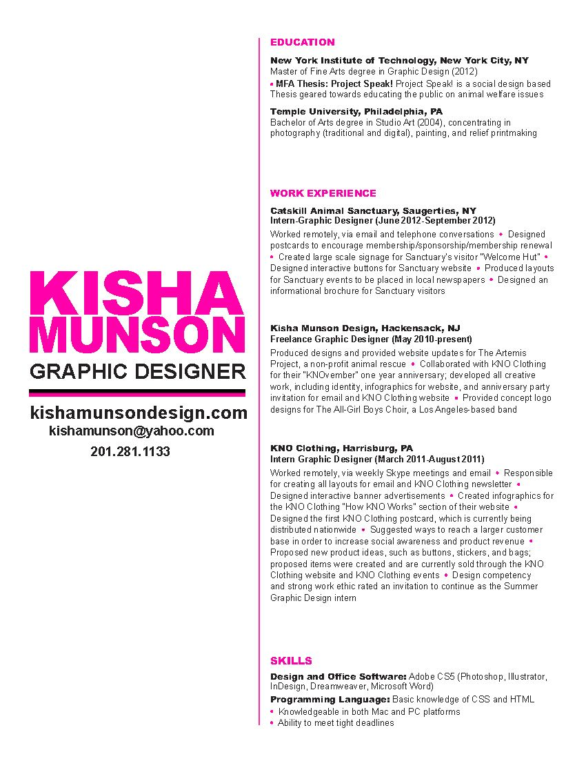 Cool Use Of Tool Line To Separate Text From Headline And Subhead Graphic Design Resume