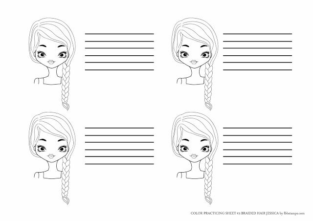 - Little Blue Button Stamps: Copic Coloring Practice Sheet #3 Braided Hair  Jessica Copic Coloring, Copic Color Chart, Practice Sheet