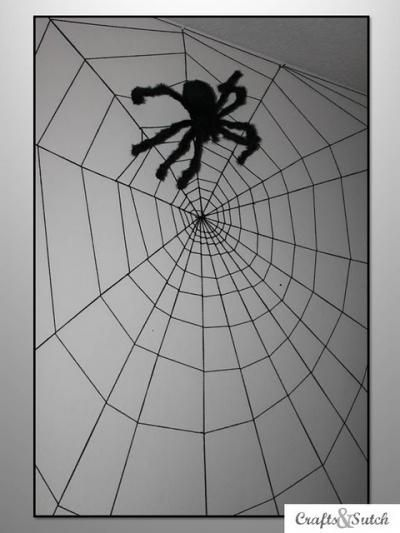 HOW-TO MAKE A SPIDER WEB WALL {DECORATE} Along came a SPIDER - spider web decoration for halloween