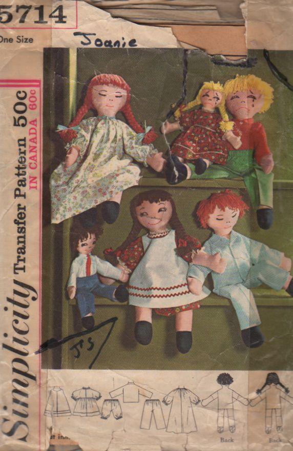 Simplicity 5714 1960s Boy and Girl Rag Doll and Doll Clothes Pattern ...