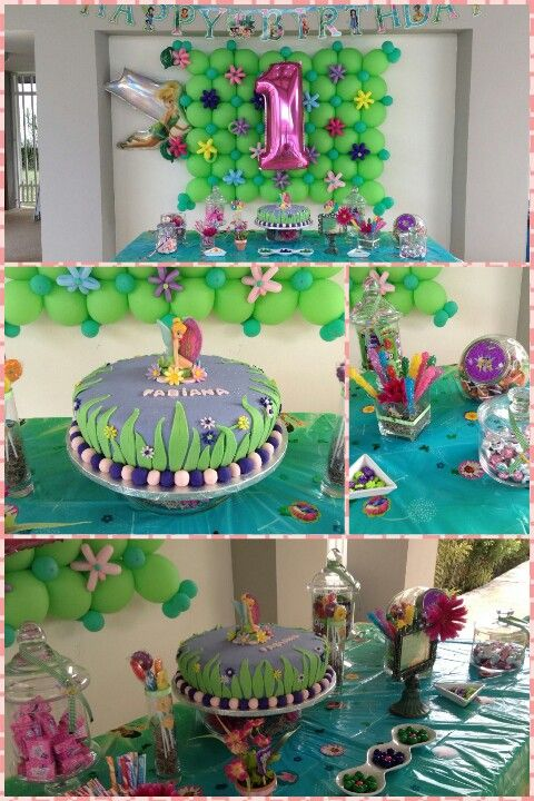 Tinkerbell 1st B Day Balloon Decor Cake Candybar One Balloon
