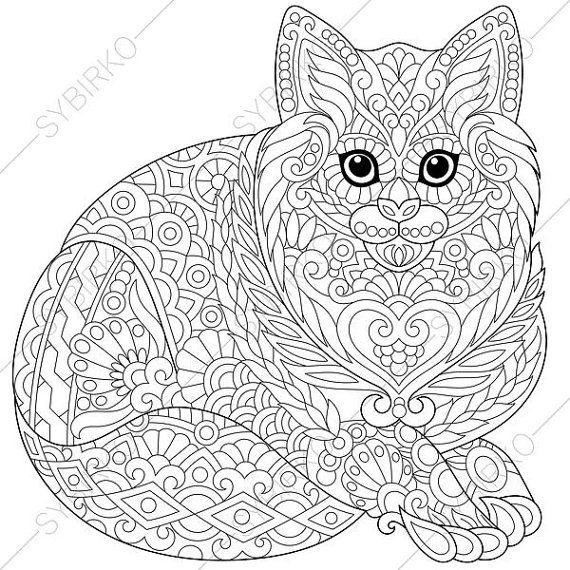 Adult Coloring Page Cat Kitten Zentangle Doodle Coloring