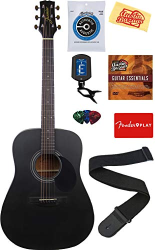 Jasmine Acoustic Guitar Matte Black Bundle With With Strings Strap Tuner Instrumentstogo Com Guitar Acoustic Acoustic Guitar