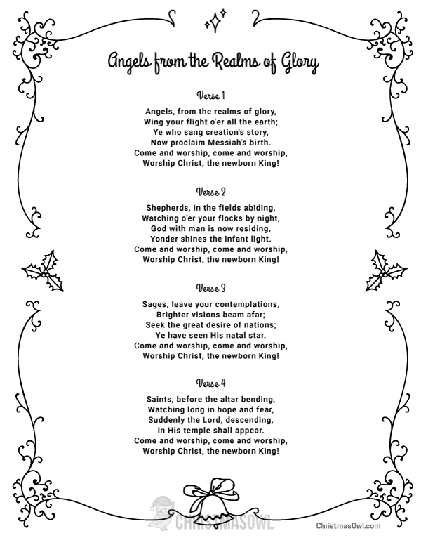 Free printable lyrics for Angels from the Realms of Glory