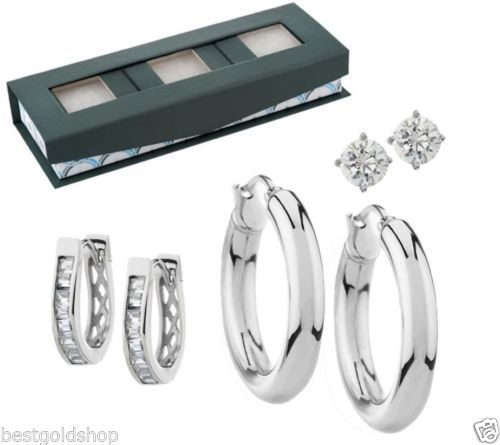 QVC Set of 3 Stud Hoop Huggie Earrings Gift Box Steel by Design J286560 US $4,425.52