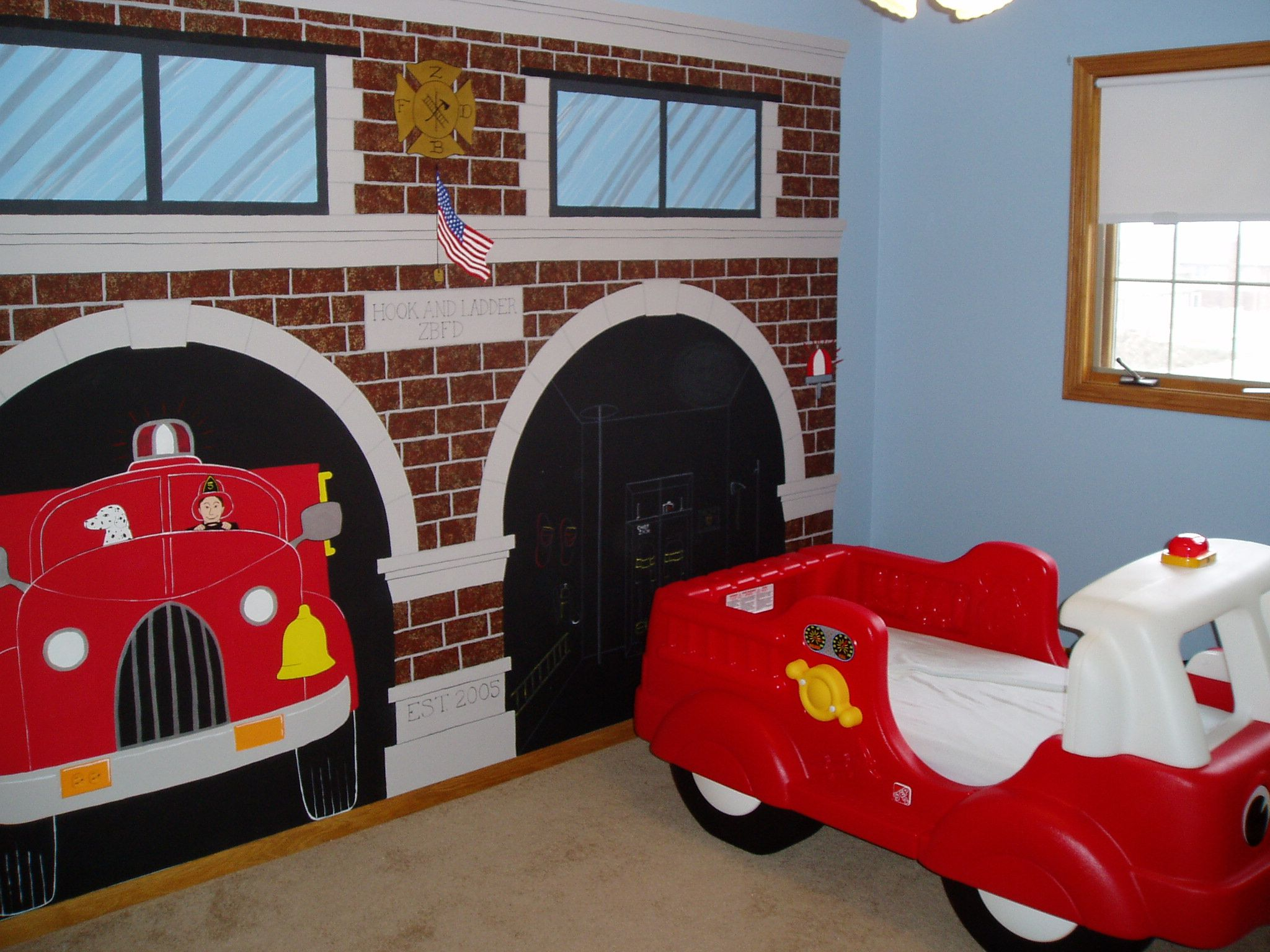 The Firehouse Bedroom Fire Truck Bedroom Firefighter Room Truck Themed Bedroom